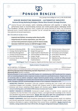 Önéletrajz minták: Senior Marketing Menedzser Angol 1. oldal